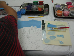Painting with tempera and mixing sky colors