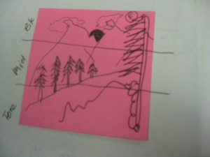 This is my post-it note mini lesson on foreground, middle ground and background. that I put in his sketchbook.