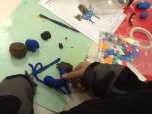 Using foil and pipe cleaners as a skelaton for modeling clay